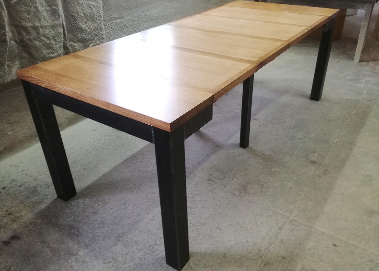 table console industriel metal extensible allonges bois de chene massif