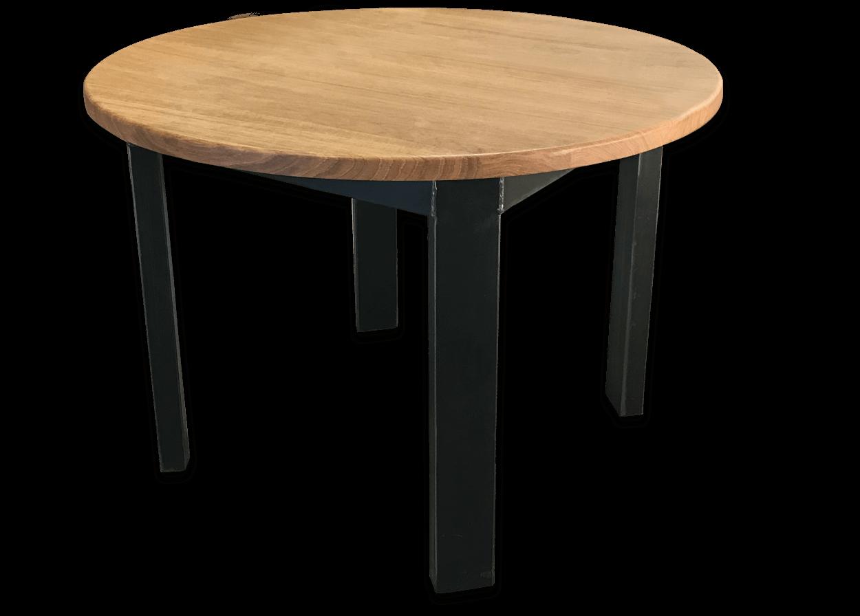 Table Ronde En Bois.Nos Tables Fixes En Bois Massif Table Fixe Loft Metal Ronde Bois De Chene Massif