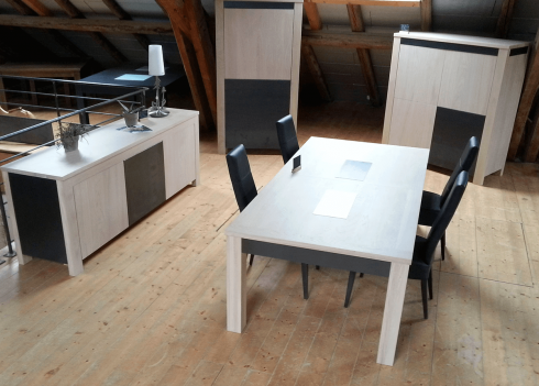 Table à allonges CONTEMPORAINE - bois de chêne massif Ensemble